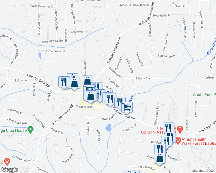 map of restaurants, bars, coffee shops, grocery stores, and more near Vinegar Hill Road in Winston-Salem