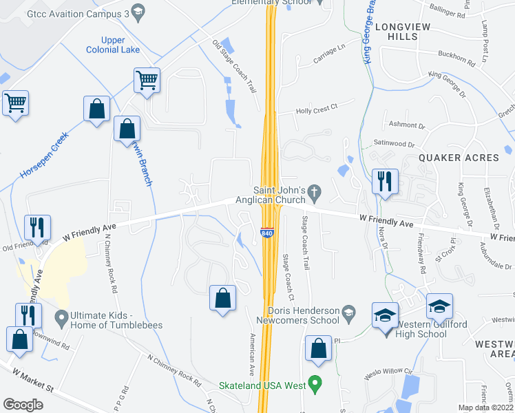 map of restaurants, bars, coffee shops, grocery stores, and more near 5902-5912 Interstate 73 in Greensboro