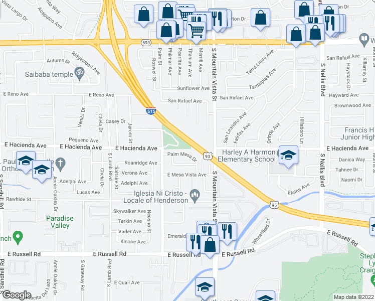 map of restaurants, bars, coffee shops, grocery stores, and more near 4502 Palm Mesa Drive in Las Vegas