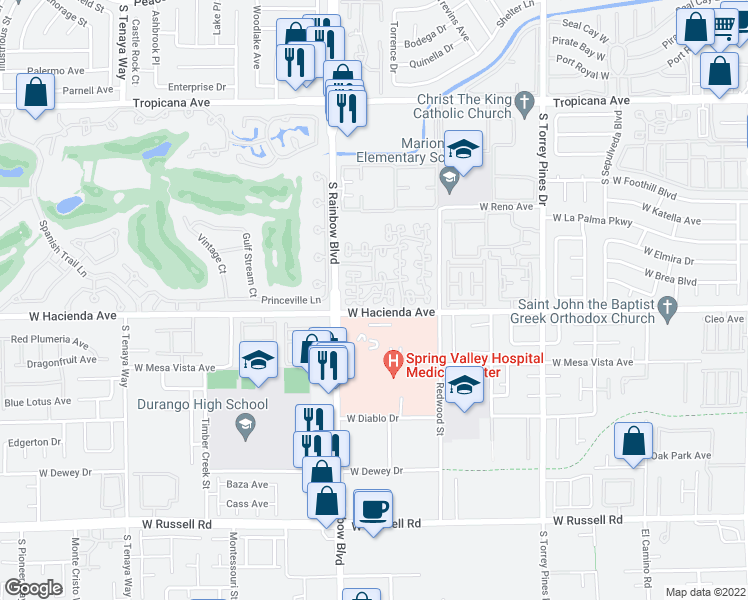 map of restaurants, bars, coffee shops, grocery stores, and more near 5250 South Rainbow Boulevard in Las Vegas