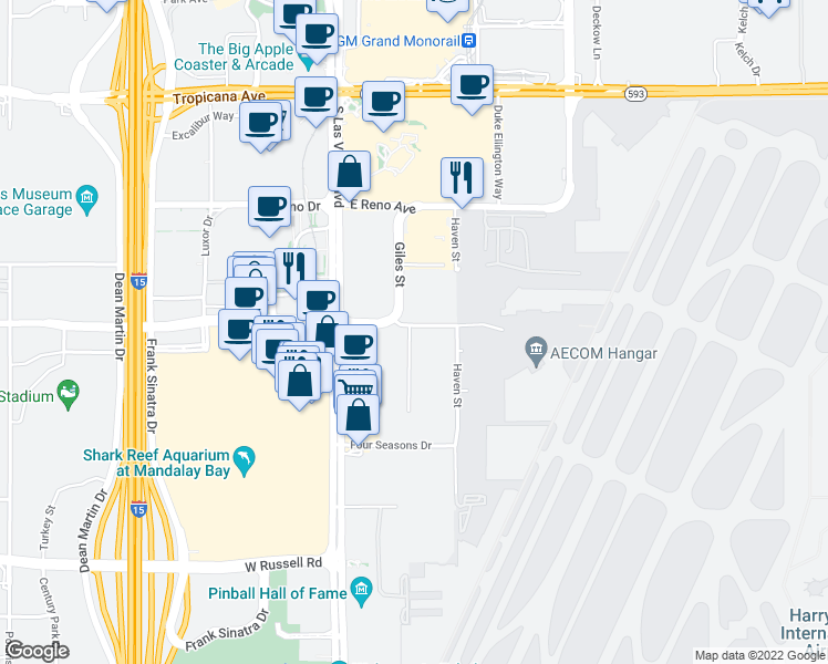 map of restaurants, bars, coffee shops, grocery stores, and more near 5301-5499 Danville Lane in Las Vegas