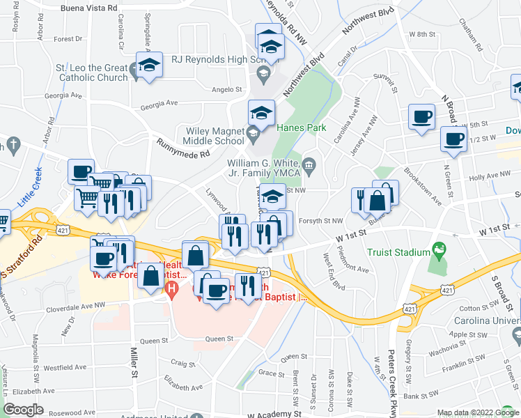map of restaurants, bars, coffee shops, grocery stores, and more near 1505 Cloverdale Avenue in Winston-Salem