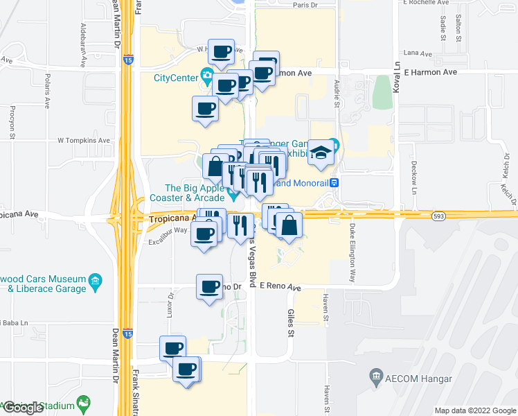 map of restaurants, bars, coffee shops, grocery stores, and more near 3792 South Las Vegas Boulevard in Las Vegas