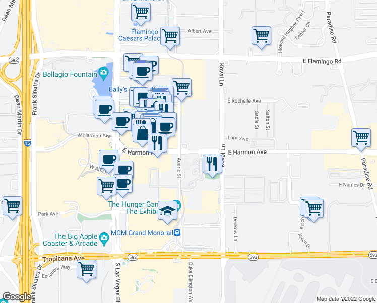map of restaurants, bars, coffee shops, grocery stores, and more near 135 East Harmon Avenue in Las Vegas