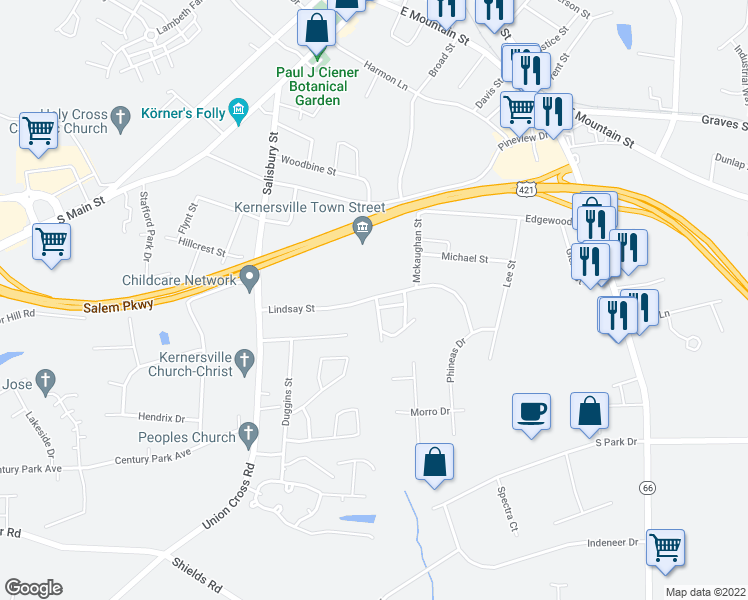 map of restaurants, bars, coffee shops, grocery stores, and more near 431-435 Lindsay St in Kernersville