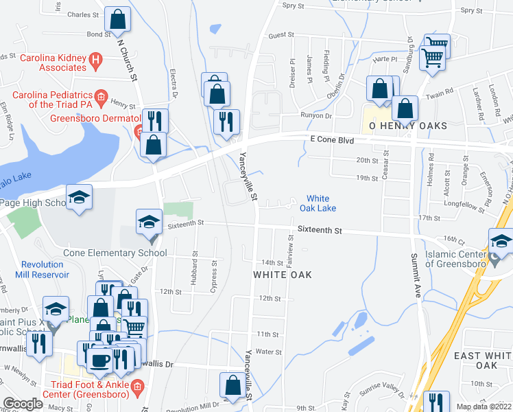 map of restaurants, bars, coffee shops, grocery stores, and more near 2653 Yanceyville Street in Greensboro