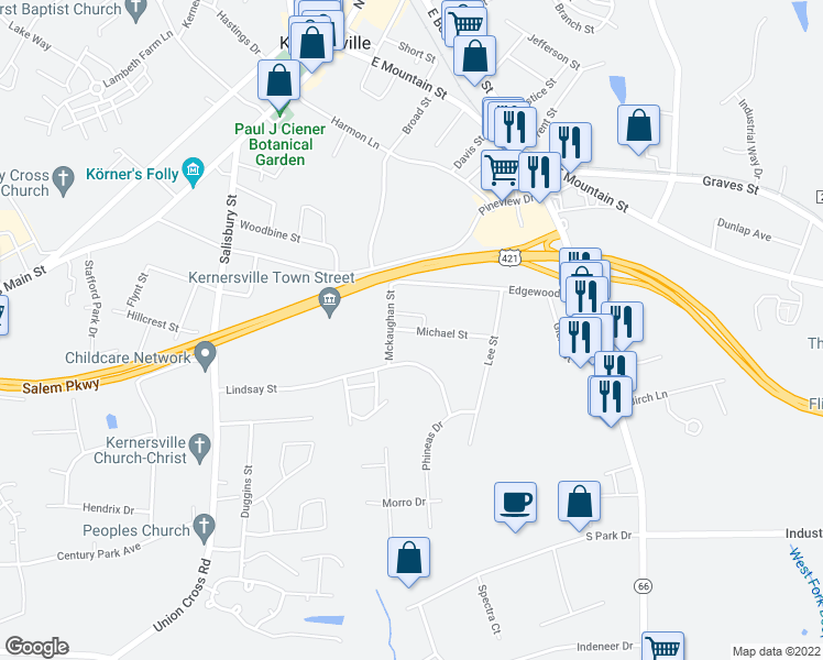 map of restaurants, bars, coffee shops, grocery stores, and more near 519 Michael St in Kernersville