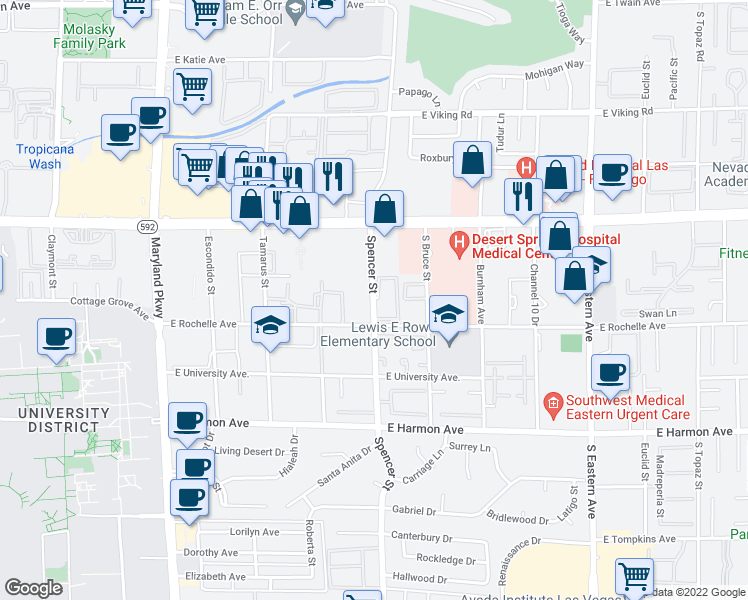 map of restaurants, bars, coffee shops, grocery stores, and more near 4248 Spencer St in Las Vegas