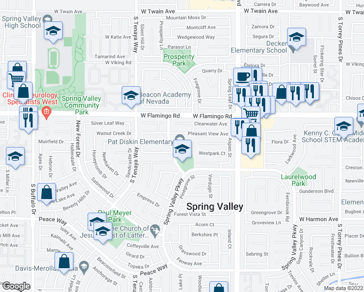 map of restaurants, bars, coffee shops, grocery stores, and more near 4220 Ravenwood Drive in Las Vegas