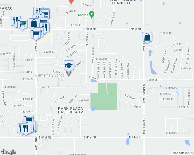 map of restaurants, bars, coffee shops, grocery stores, and more near 3366 South 138th East Av