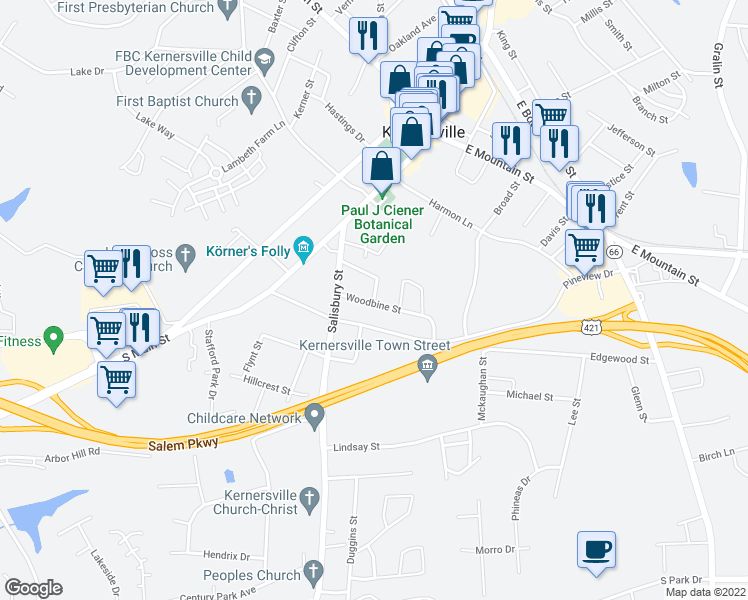 map of restaurants, bars, coffee shops, grocery stores, and more near 110-112 Woodbine Street in Kernersville