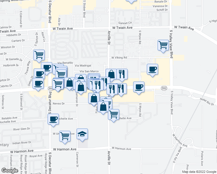 map of restaurants, bars, coffee shops, grocery stores, and more near W Flamingo Rd & Arville St in Paradise