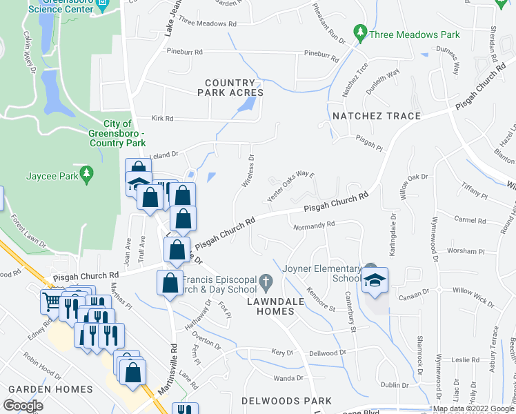 map of restaurants, bars, coffee shops, grocery stores, and more near 110 Yester Oaks Way West in Greensboro