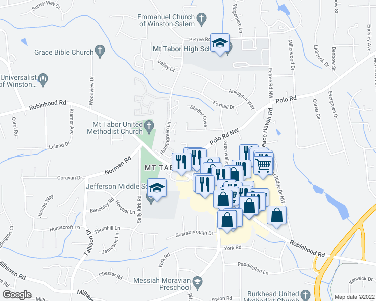map of restaurants, bars, coffee shops, grocery stores, and more near 3500-3598 Beacon Hill Drive Northwest in Winston-Salem