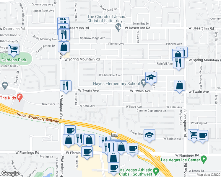 map of restaurants, bars, coffee shops, grocery stores, and more near 9875 Sierra Canyon Way in Las Vegas