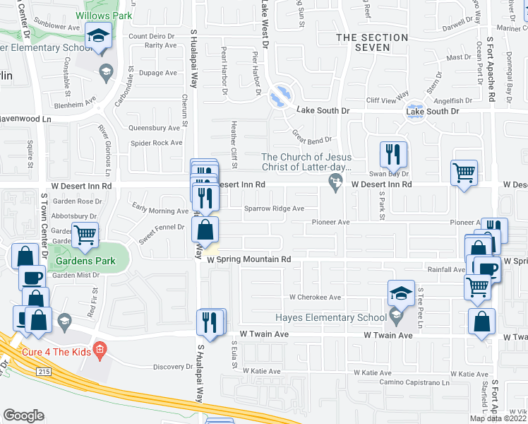 map of restaurants, bars, coffee shops, grocery stores, and more near 10021 Sparrow Ridge Ave in Las Vegas