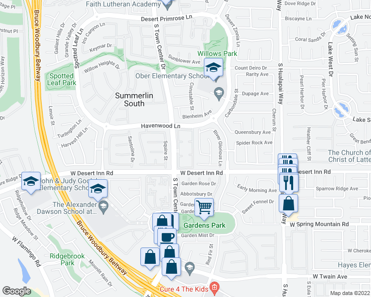 map of restaurants, bars, coffee shops, grocery stores, and more near 3221 Little Stream Street in Las Vegas