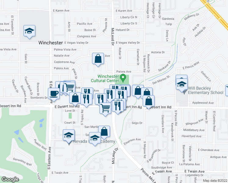 map of restaurants, bars, coffee shops, grocery stores, and more near McLeod Dr in Las Vegas