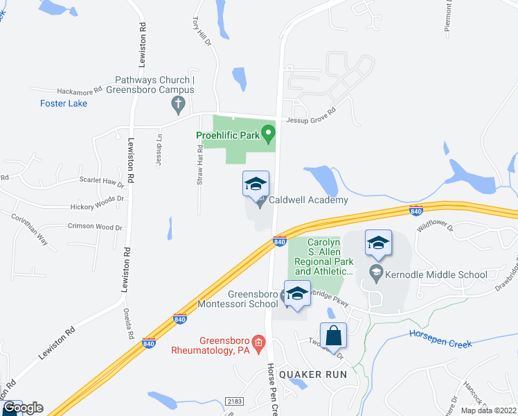 map of restaurants, bars, coffee shops, grocery stores, and more near 2891-2899 Horse Pen Creek Road in Greensboro