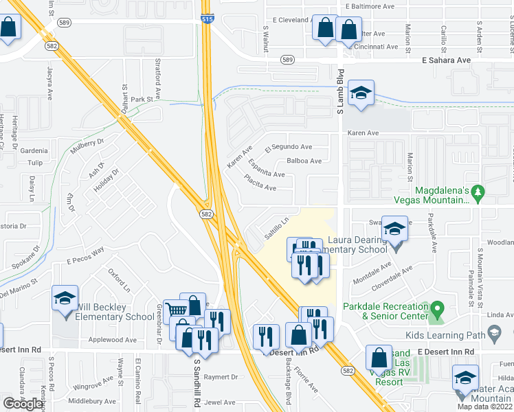 map of restaurants, bars, coffee shops, grocery stores, and more near 3905 E Vegas Valley Dr in Las Vegas