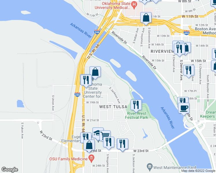 map of restaurants, bars, coffee shops, grocery stores, and more near 1715 S Jackson Ave in Tulsa
