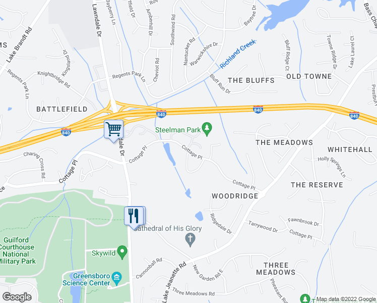 map of restaurants, bars, coffee shops, grocery stores, and more near 2403 Northbrook Townhomes in Greensboro
