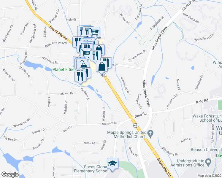 map of restaurants, bars, coffee shops, grocery stores, and more near 2799 Huntington Court in Winston-Salem