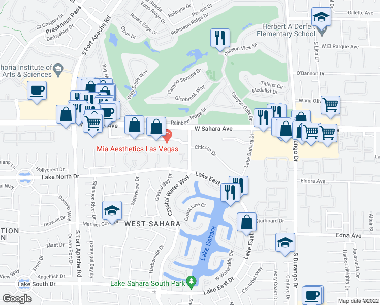 map of restaurants, bars, coffee shops, grocery stores, and more near 8804 River Pines Ct in Las Vegas