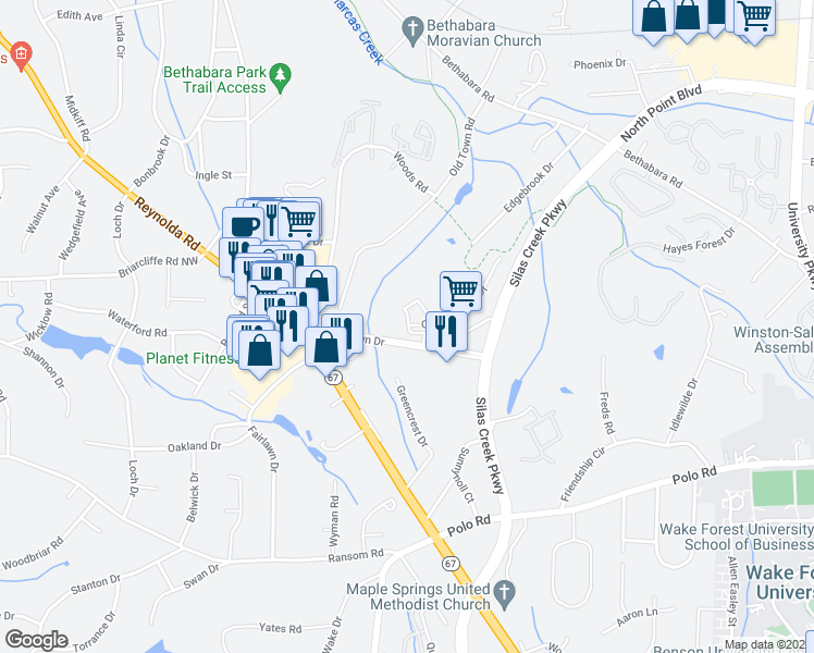 map of restaurants, bars, coffee shops, grocery stores, and more near 101-1199 Crowne Ct in Winston-Salem