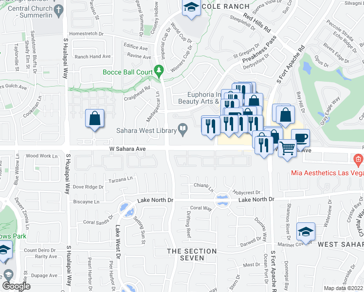 map of restaurants, bars, coffee shops, grocery stores, and more near 9579-9599 West Sahara Avenue in Las Vegas