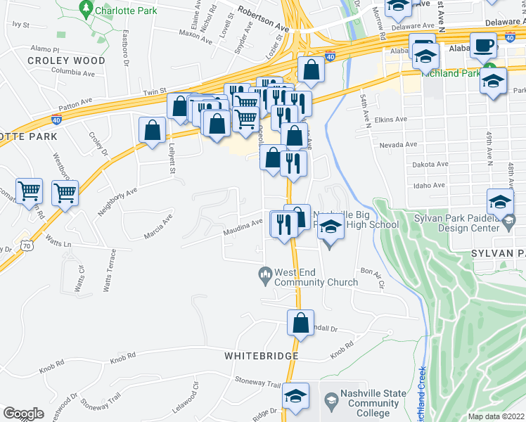 map of restaurants, bars, coffee shops, grocery stores, and more near Burgess Ave & Oceola Ave in Nashville
