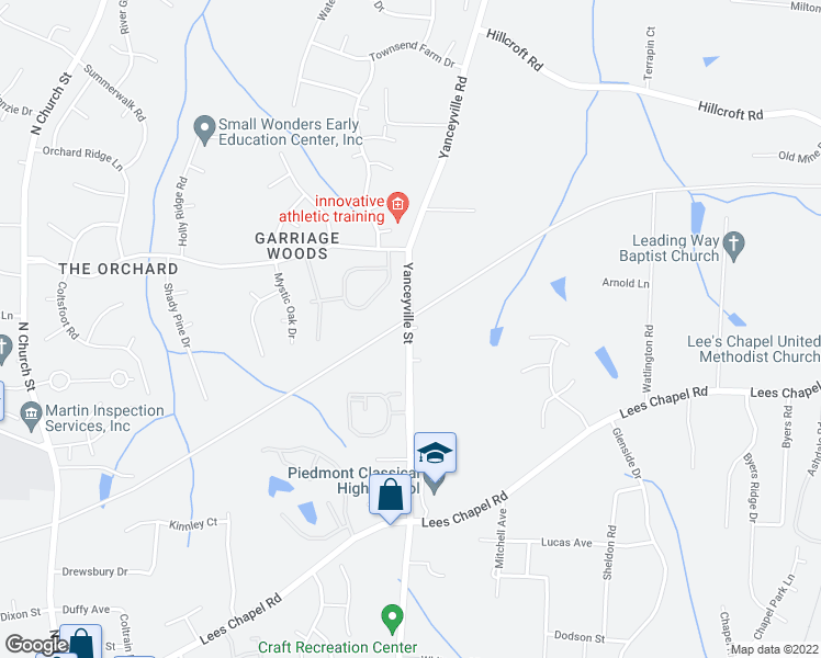 map of restaurants, bars, coffee shops, grocery stores, and more near 4236 Yanceyville Rd in Greensboro