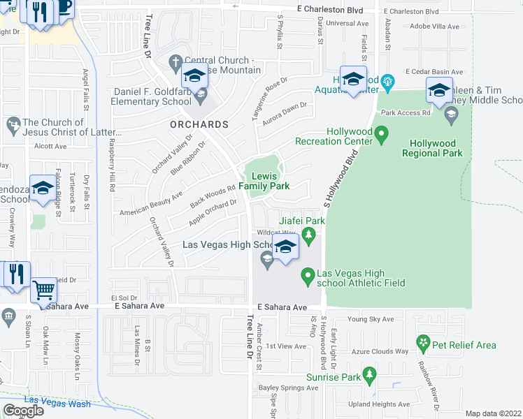 map of restaurants, bars, coffee shops, grocery stores, and more near Grass Meadows Dr in Las Vegas