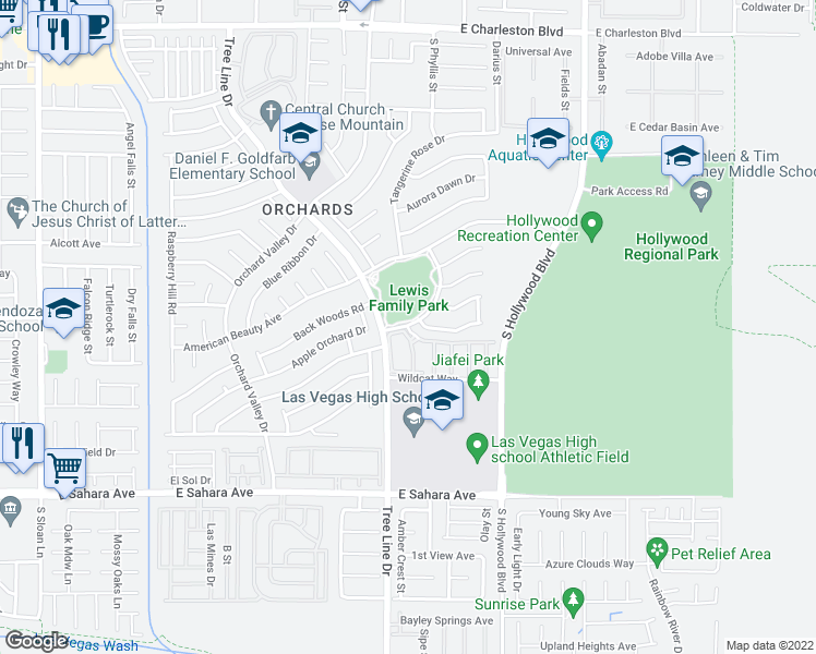map of restaurants, bars, coffee shops, grocery stores, and more near 6435 Grass Meadows Dr in Sunrise Manor