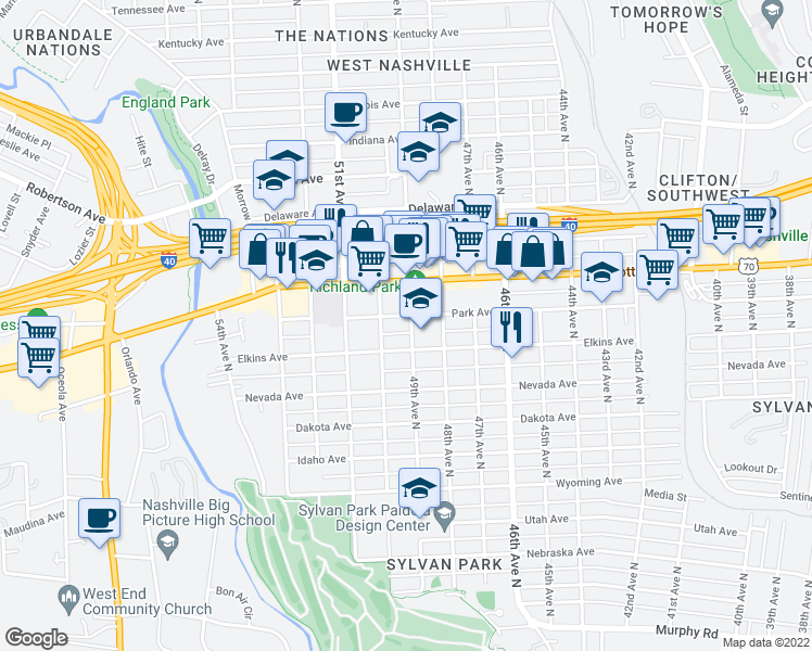map of restaurants, bars, coffee shops, grocery stores, and more near 4901 Park Avenue in Nashville