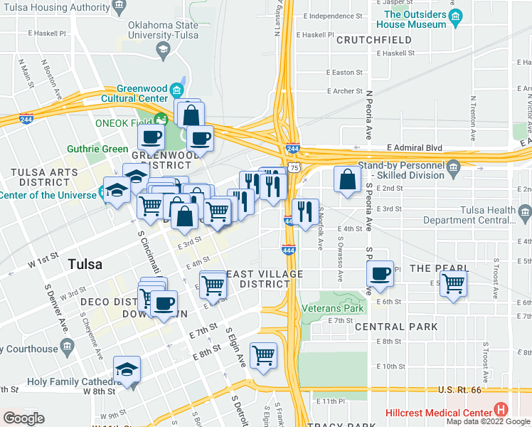 map of restaurants, bars, coffee shops, grocery stores, and more near 305 South Kenosha Avenue in Tulsa