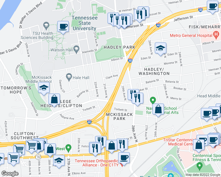 map of restaurants, bars, coffee shops, grocery stores, and more near 3007 Batavia Street in Nashville