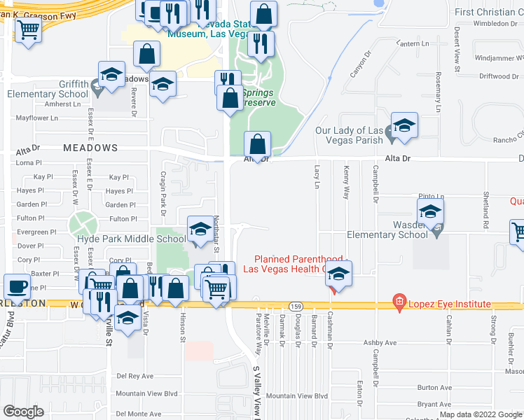 map of restaurants, bars, coffee shops, grocery stores, and more near Fulton Place in Las Vegas