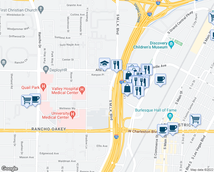 map of restaurants, bars, coffee shops, grocery stores, and more near 516 W Desert Inn Rd in Las Vegas