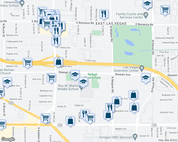 map of restaurants, bars, coffee shops, grocery stores, and more near 2829 Stewart Ave in Las Vegas