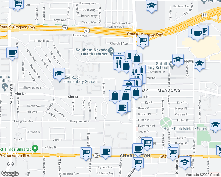 map of restaurants, bars, coffee shops, grocery stores, and more near 300-400 Brush Street in Las Vegas