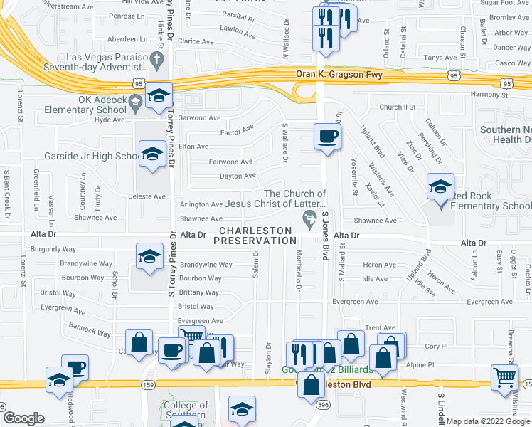 map of restaurants, bars, coffee shops, grocery stores, and more near 6149 Arlington Ave in Las Vegas