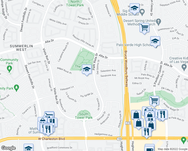 map of restaurants, bars, coffee shops, grocery stores, and more near 1295 Park Vista Dr in Las Vegas