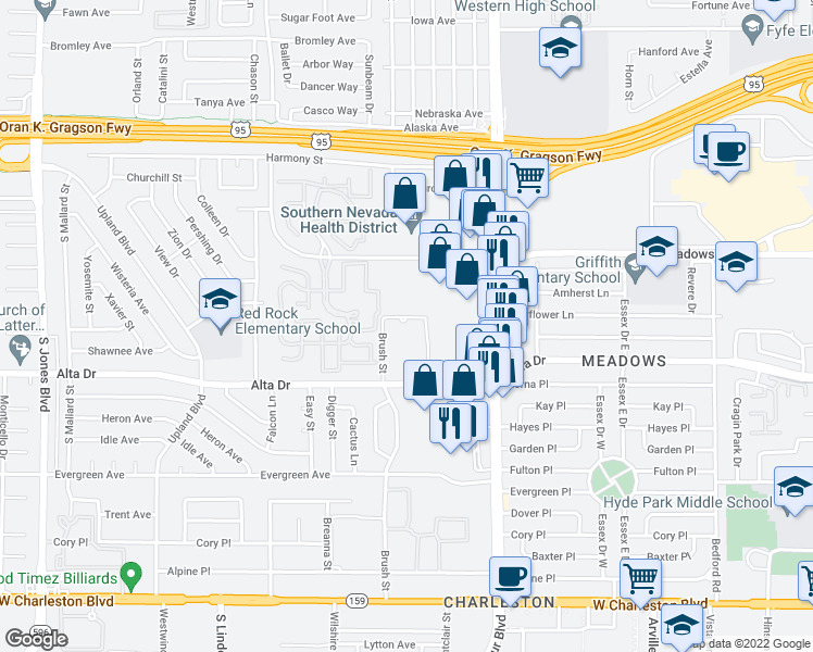 map of restaurants, bars, coffee shops, grocery stores, and more near 400 Brush Street in Las Vegas