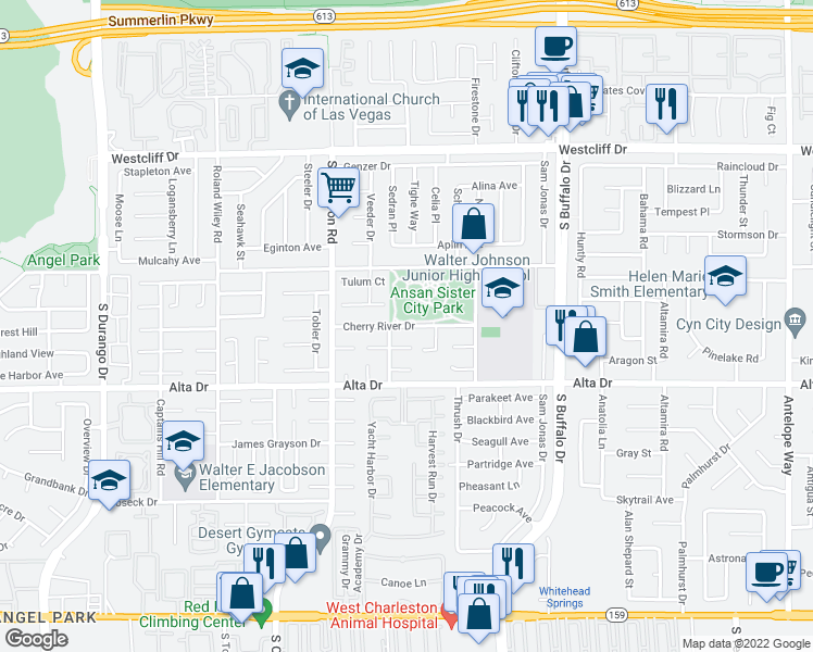 map of restaurants, bars, coffee shops, grocery stores, and more near 7861 Cherry River Drive in Las Vegas