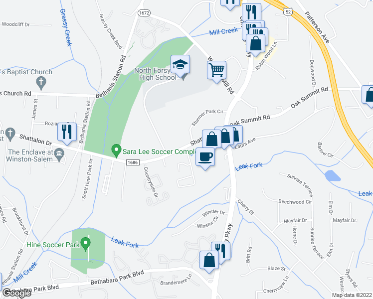map of restaurants, bars, coffee shops, grocery stores, and more near 5724 Shattalon Dr in Winston-Salem
