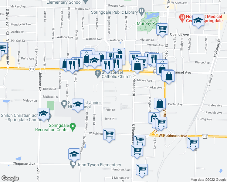 map of restaurants, bars, coffee shops, grocery stores, and more near 1502 Kirsten Drive in Springdale