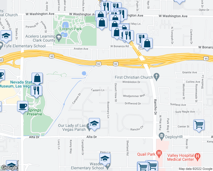 map of restaurants, bars, coffee shops, grocery stores, and more near 120 Rosemary Lane in Las Vegas