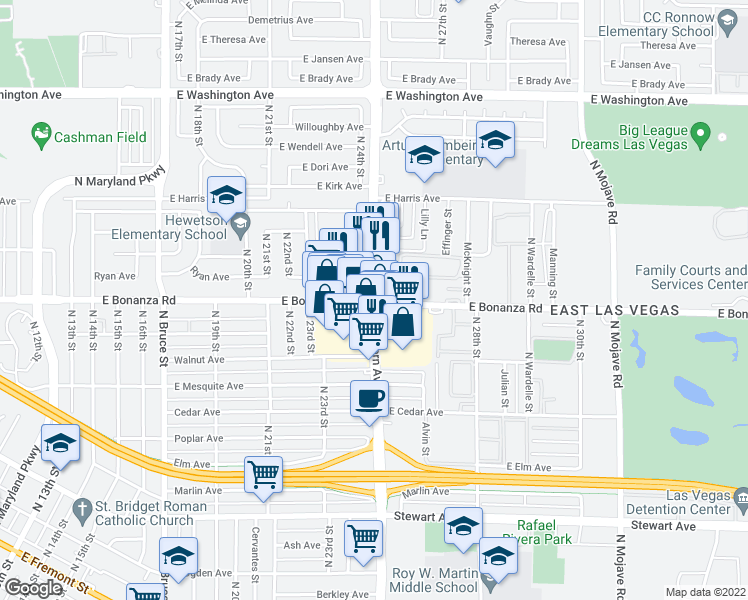 map of restaurants, bars, coffee shops, grocery stores, and more near North Eastern Avenue in Las Vegas