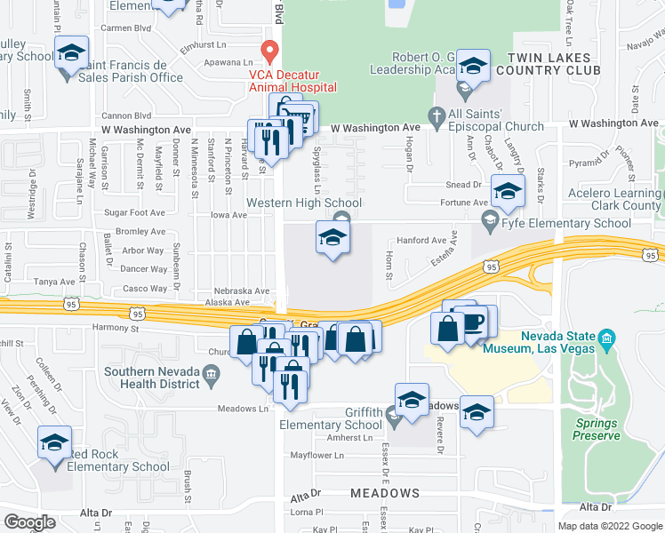 map of restaurants, bars, coffee shops, grocery stores, and more near 4601 W Bonanza Rd in Las Vegas